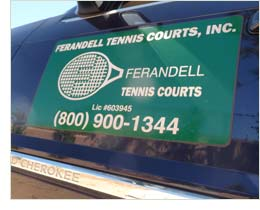 Ferandell Tennis Courts Sign on Side of Truck