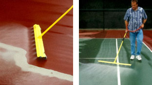 A water efficient Waterbroom uses water and air combination to clean tennis and basketball courts.