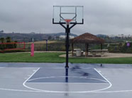 Blue and Grey Basketball Court