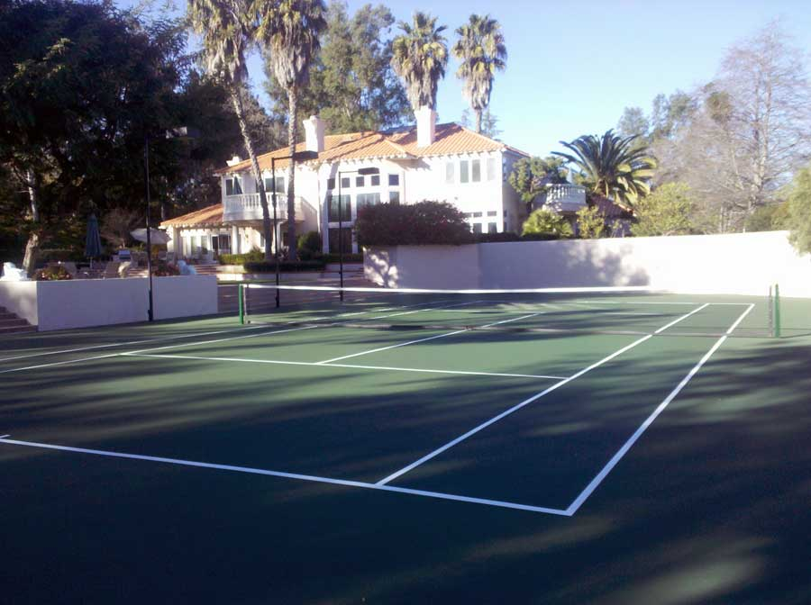 Green Tennis Court with Green Surround